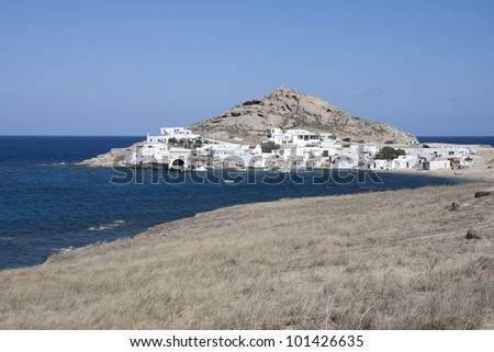 Fishing village of Agia Anna, Mykonos island, Cyclades, Greece - stock photo