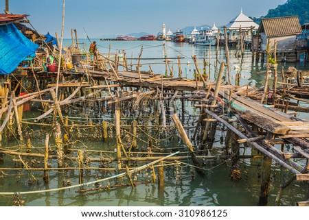 fishing village of Bang Bao near the lighthouse - stock photo