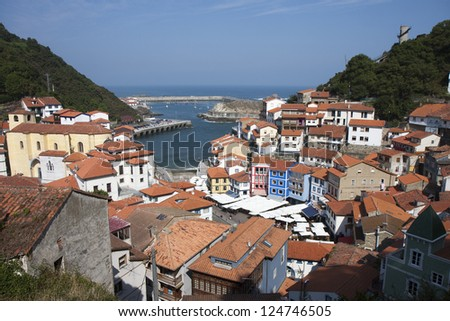 Fishing Village of Cudillero in Asturias, Spain - stock photo