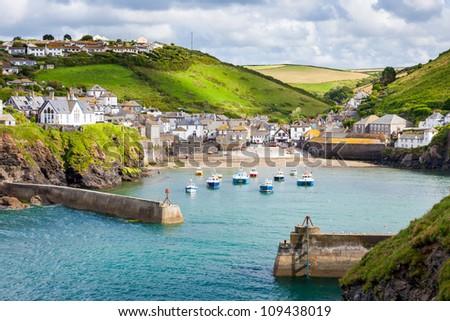 fishing village of Port Isaac, on the North Cornwall Coast, England UK - stock photo