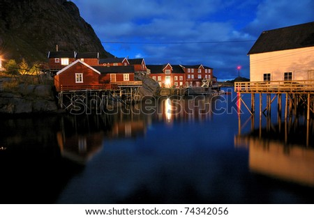 fishing village on the lofoten islands, norway, at night - stock photo