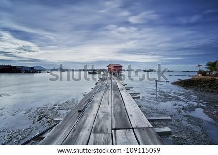 fishing village, penang - stock photo