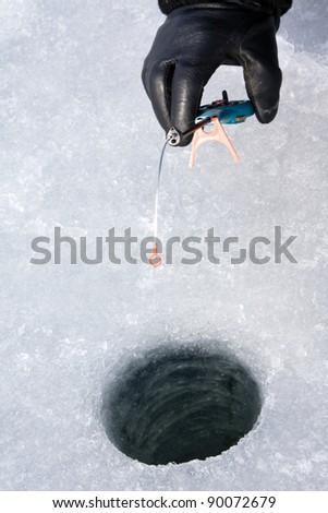 Fishing winter - stock photo