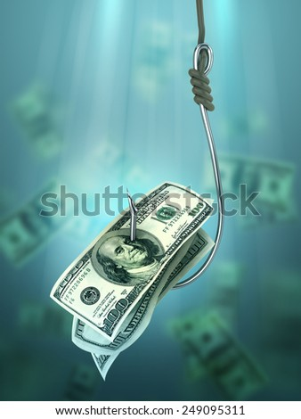 Fishing with 100 dollars banknote bait on fishhook (Credit concept) - stock photo