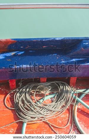 Fishnets on fish boat. Greece - stock photo