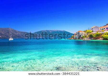Fiskardo village, Kefalonia island, Greece - stock photo