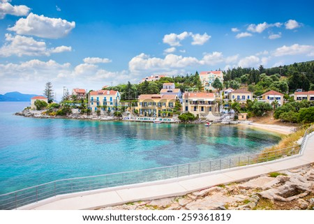 Fiskardo village on Kefalonia Ionian island, Greece. - stock photo