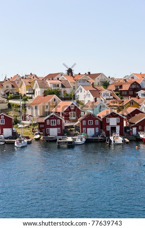 Fiskebackskil an old fishing community on the Swedish west coast - stock photo