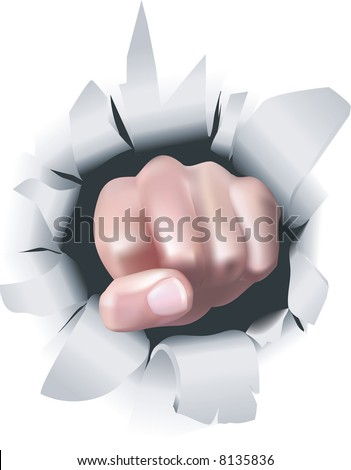Fist. An illustration of a fist breaking through a wall, conceptual piece - stock photo