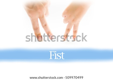 Fist - Heart shape to represent medical care as concept. The word Fist is a part of medical vocabulary in stock photo.
