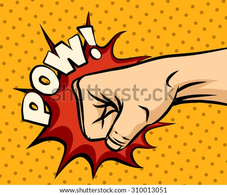 Fist hitting, fist punching in pop art style. Human violence, knuckle and impact - stock photo