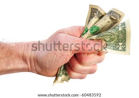 Fist Holding Three Dollar Bills Isolated on White - stock photo
