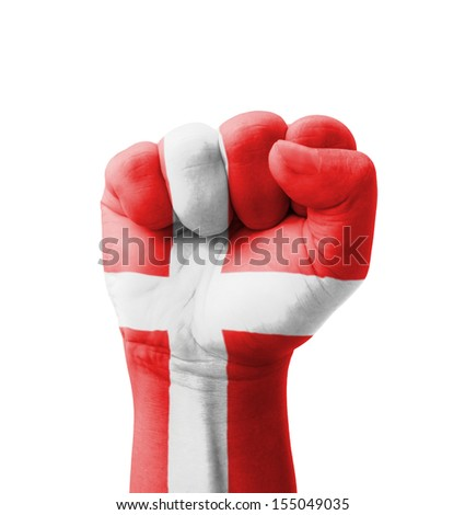 Fist of Denmark flag painted, multi purpose concept - isolated on white background