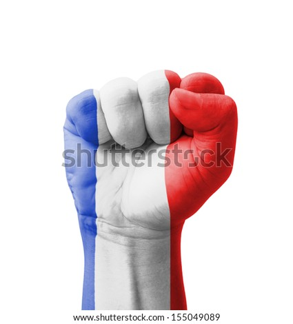 Fist of France flag painted, multi purpose concept - isolated on white background