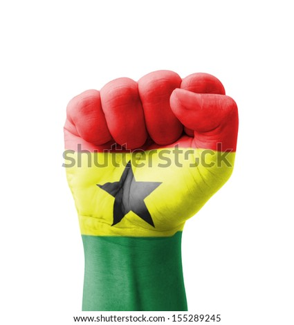 Fist of Ghana flag painted, multi purpose concept - isolated on white background - stock photo