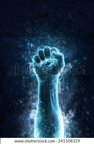 Fist of ice - stock photo