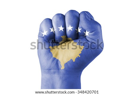 Fist of Kosovo flag painted, isolated
