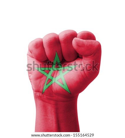 Fist of Morocco flag painted, multi purpose concept - isolated on white background