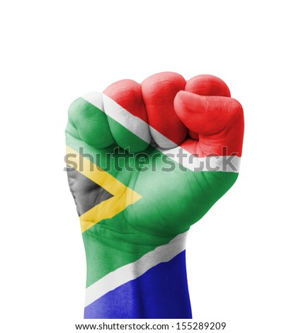 Fist of South Africa flag painted, multi purpose concept - isolated on white background - stock photo