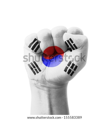 Fist of South Korea flag painted, multi purpose concept - isolated on white background - stock photo