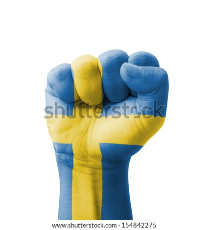 Fist of Sweden flag painted, multi purpose concept - isolated on white background - stock photo