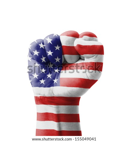 Fist of USA (United States of America) flag painted, multi purpose concept - isolated on white background - stock photo