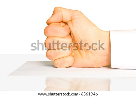 fist on paper isolated on white