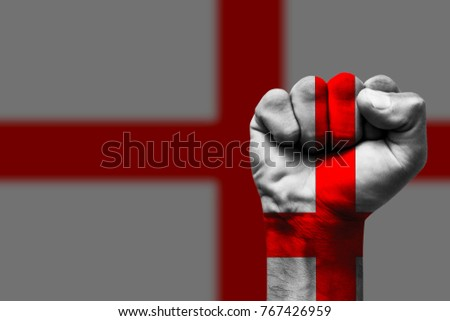 Fist painted in colors of England flag, fist flag, country of England