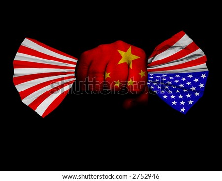 Fist painted with Chinese flag crumbles American flag. U.S. flag signaling distress - stock photo