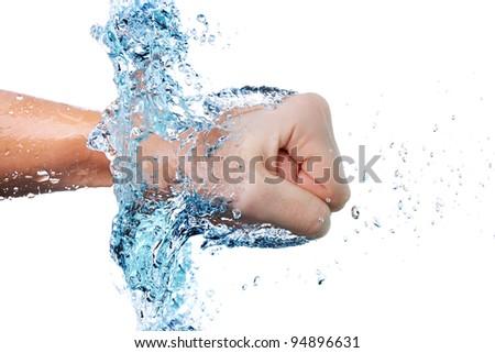 fist through water - stock photo