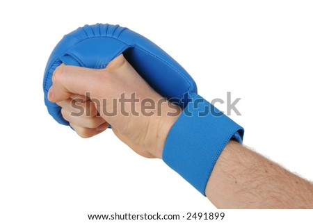 Fist with blue karate glove. Isolated on white. Clipping path included. - stock photo