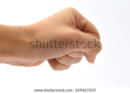 fist with his hand