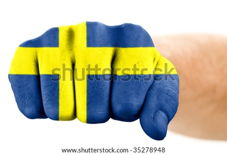 fist with swedish flag isolated on white - stock photo