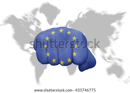 fist with the national flag of european union on a world map background - stock photo
