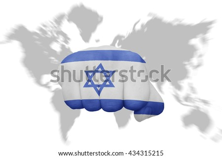 fist with the national flag of israel on a world map background - stock photo