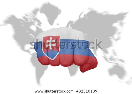 fist with the national flag of slovakia on a world map background