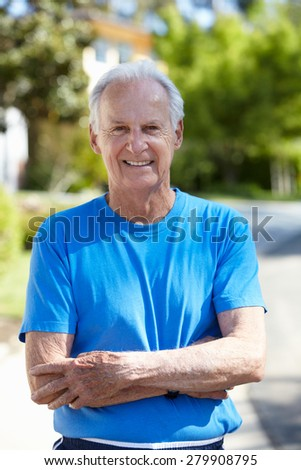 Fit, active, elderly man outdoors - stock photo