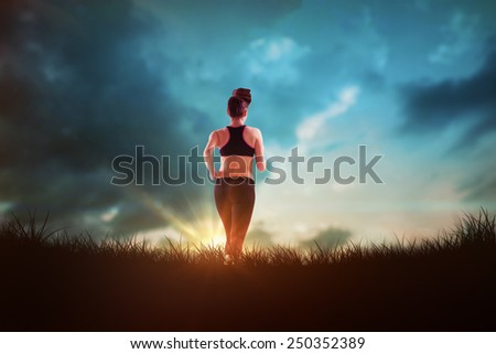 Fit brunette jogging away from camera against blue sky over grass - stock photo