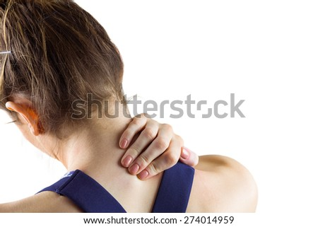 Fit brunette with neck injury on white background - stock photo