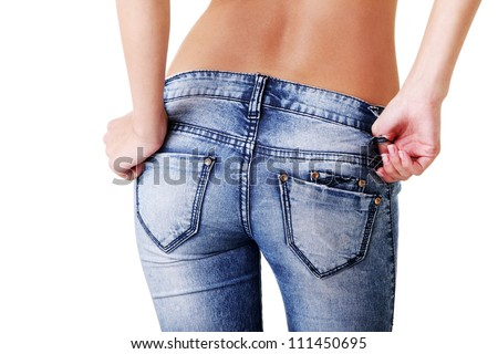 Fit female butt in jeans - stock photo