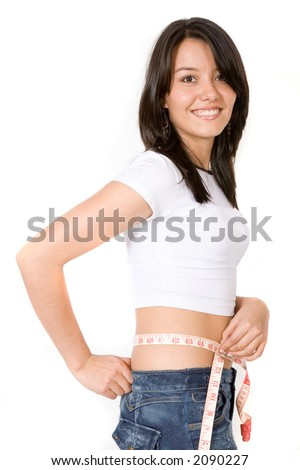 fit girl on a diet smiling over white