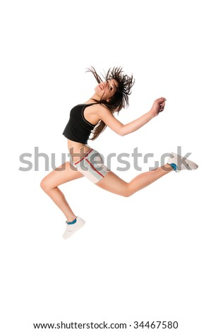 Fit girl with jumping high isolated on white background