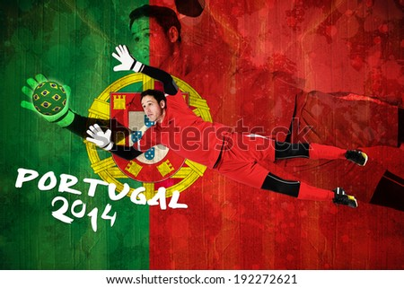Fit goal keeper jumping up against portugal flag in grunge effect - stock photo