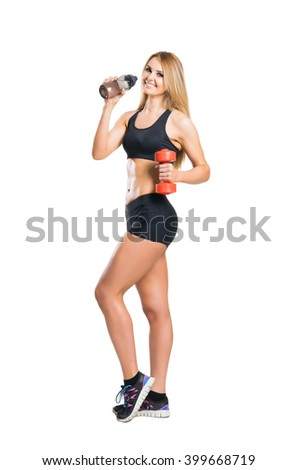 Fit, healthy and sporty woman in sportswear  isolated on white. - stock photo