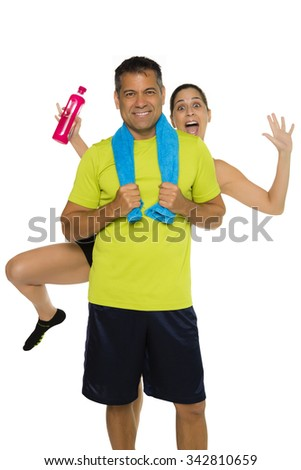 Fit Hispanic male with photo bomber in background - stock photo