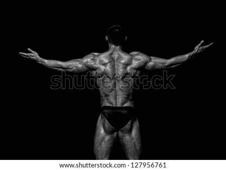 Fit male model showing his back - stock photo
