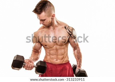 Fit man exercise with dumbbells.