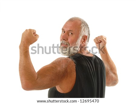 Fit older man flexing his biceps; isolated on white