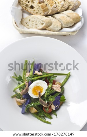 Fit salad nicoise egg anchovies bread elegant restaurant plate - stock photo