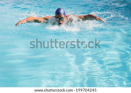 Fit swimmer doing the butterfly stroke in the swimming pool on a sunny day - stock photo